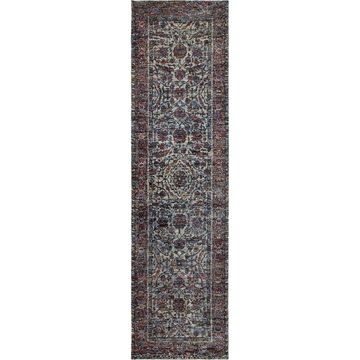 Bordered Floral Traditional Blue/ Purple Rug - 2'6