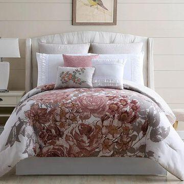 Pacific Coast Embellished Comforter Set, Beig/Green, Queen