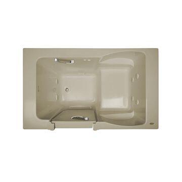 Jacuzzi Finestra 60-in Almond Acrylic Rectangular Left-Hand Drain Walk-In Whirlpool Bathtub