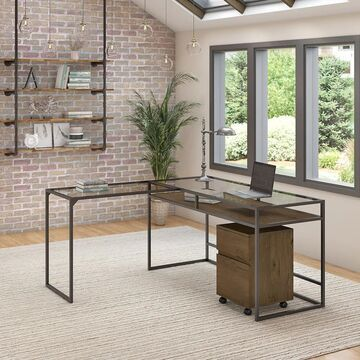 Anthropology 60W L Shaped Desk with Drawers by Bush Furniture (Industrial - L-Shape - Large - Wood Finish - L-Shaped Desks - Brown - MDF - Assembly