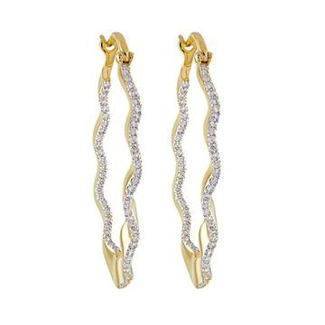14K Yellow Gold 2/3 ct. TDW Diamonds Hoop Earrings by Beverly Hills Charm