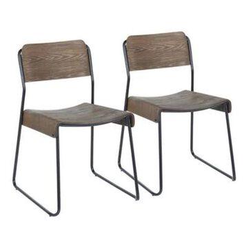 LumiSource Dali Chairs in Black/Espresso (Set of 2)