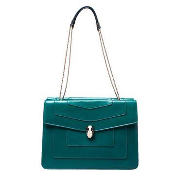 Bvlgari Green Leather Serpenti Forever Shoulder Bag