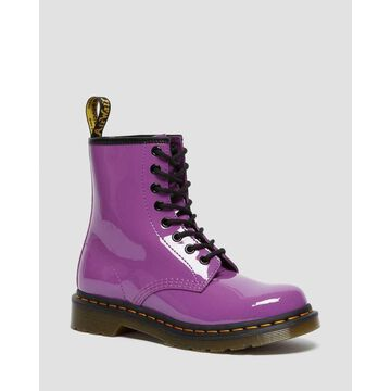 Dr. Martens, 1460 Women's Patent Leather Lace Up Boots in Bright Purple, Size 5