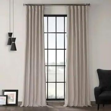 Exclusive Fabrics French Linen Lined Curtain Panel (50 X 96 - Earl Grey)