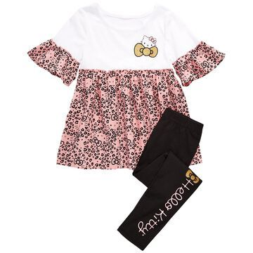 Little Girls Leopard-Print Top & Leggings Set