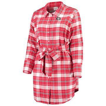 Georgia Bulldogs ZooZatz Women's Plus Size Warmup Flannel Button-Up Dress - Red