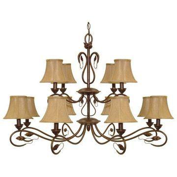 Nuvo Lighting Vine 12-Light Chandelier, Sonoma Bronze and Fabric Shades