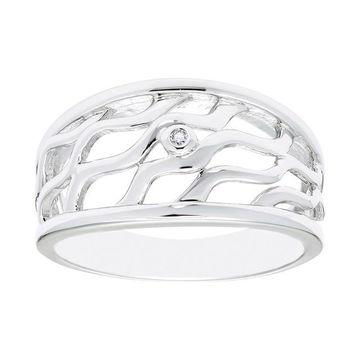 Boston Bay Diamonds Sterling Silver Diamond Accent Wavy Ring