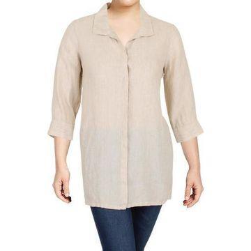 Foxcroft Womens Linen Button Down Tunic Top