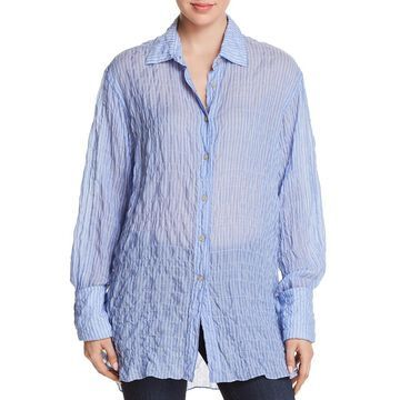 Elizabeth and James Womens Tunic Textured Button-Down Top