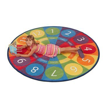 Tick-Tock Clock Activity Rug, 6' Round