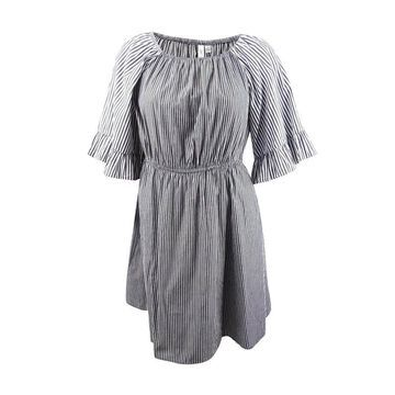 NY Collection Women's Plus Size Mixed-Stripe Off-The-Shoulder Dress - Jet Buttonup