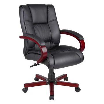 Boss B8996-M Mid-Back Wood-Trim Executive Chair, Black-Mahogany