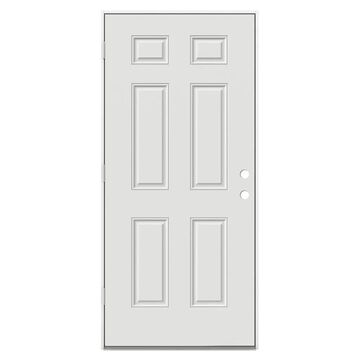 ReliaBilt 36-in x 80-in Steel Right-Hand Outswing Primed Prehung Single Front Door in Off-White | 42757