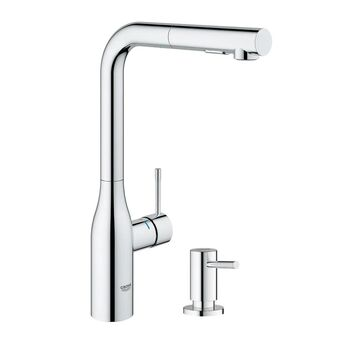 Grohe Essence Pull-Out Kitchen Faucet with Soap Dispenser (Chrome)