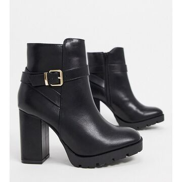 Truffle Collection wide fit heeled boots in black