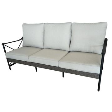 allen + roth Rothenbee Wicker Outdoor Sofa with Tan Cushion and Black Aluminum Frame