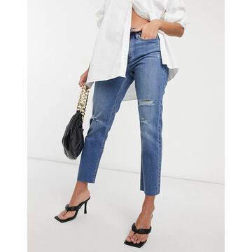 Calvin Klein Jeans high rise straight leg jeans in mid wash-Blues