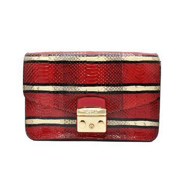 Furla Metropolis Red Python Handbags