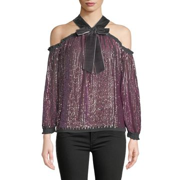 Kaleidoscope Sequin Velvet Cold-Shoulder Top
