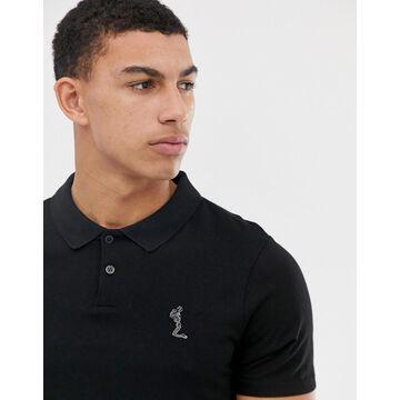 Religion polo shirt with curved hem-Black