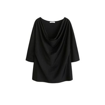Violeta BY MANGO - Cowl neck t-shirt black - M - Plus sizes