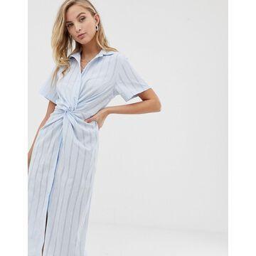 Liquorish twist front shirt dress in blue