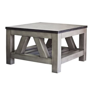 Water Creation Aberdeen Collection Grey Wood and Limestone Coffee Table