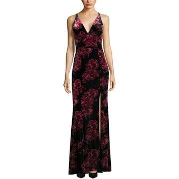 Xscape Womens Velvet Floral Formal Dress
