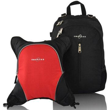 Obersee Rio Diaper Bag Backpack with Detachable Cooler, Black/Red
