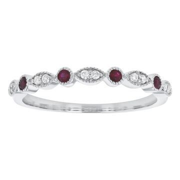 10K White Gold Rubies and Diamonds Art Deco Vintage Band Ring by Beverly Hills Charm