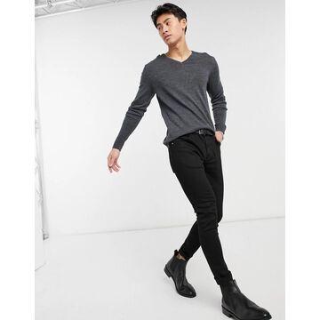 Selected Homme new merino v-neck sweater-Grey