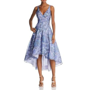 Aidan Mattox Womens Gown Multi V-Neck Floral Print Pleated