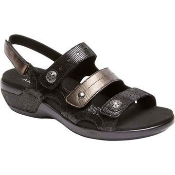 Aravon Women's PC Three Strap Slingback Sandal Black Leather