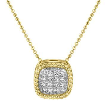 14k Yellow Gold 1/4ct. TDW Diamond Square Vintage Necklace by Beverly Hills Charm