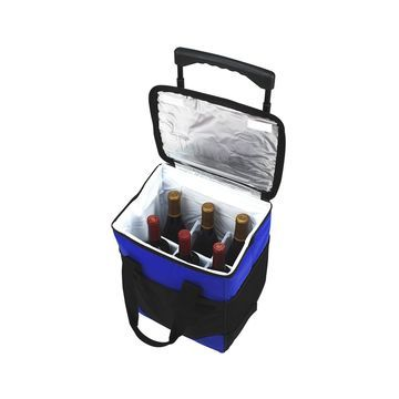 Insulated 6 Bottle Wine Carrier on Wheels