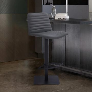 Armen Living Carson Contemporary Adjustable Faux Leather Bar & Counter Stool (Grey Black)