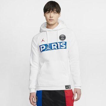 Jordan Mens Paris Saint Germain Jordan PSG Jumpman Fleece Hoodie - Mens White/University Red Size 3XL