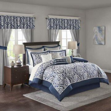 Home Essence Finley 24 Piece Room in a Bag, King, Navy