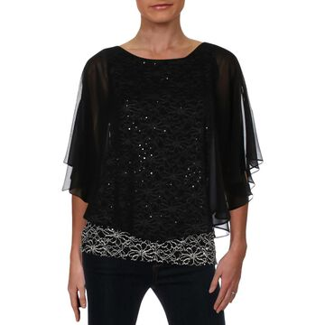 Connected Apparel Womens Chiffon Capelet Blouse