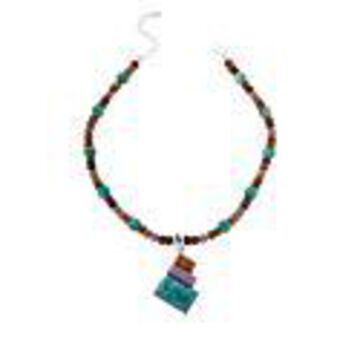 Mine Finds by Jay King Sterling Silver Multi-Color Multi-Gem Pendant with Necklace