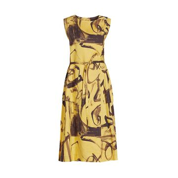 Issey Miyake Brush Stroke Sleeveless Wrap Dress
