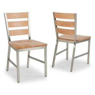 Sheffield Chair, Dining (2 Per Carton) by Home Styles (Set of 2 - Whitewash, Wood top, Stainless Frame)