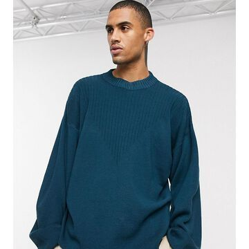 Noak crew neck sweater with rib detail in blue