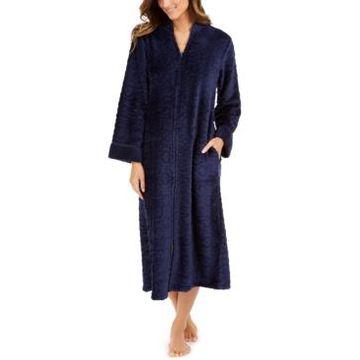 Miss Elaine Women's Jacquard Cuddle Fleece Long Zipper Robe