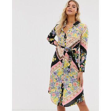 Miss Selfridge midi shirt dress in scarf print-Black