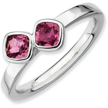 Double Cushion-Cut Pink Tourmaline Sterling Silver Ring