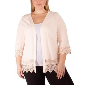 Ny Collection Plus Size Crochet-Trim Cardigan