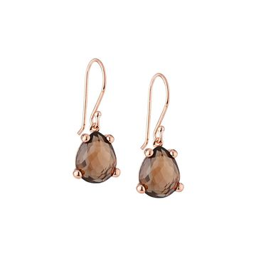 Smoky Quartz Pear-Shaped Drop Earrings